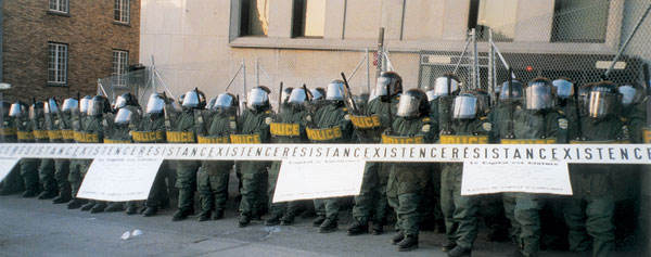 Quebec Protest 2001 gegen die amerikanische Freihandelszone
